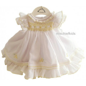 Sarah Louise 010238 White and Lemon Voile Frills Smock Dress