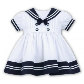 Sarah Louise 010411 Girls White/Navy Sailor Dress
