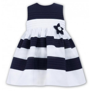 Sarah Louise 010412 Girls White/Navy Pleated Dress