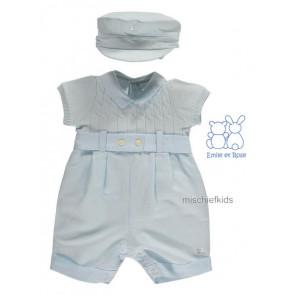 Emile et Rose 7241 GERALD Blue Knit Onesie Romper & Hat 161