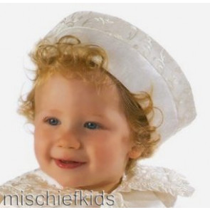Little Darlings PB1079 Ivory Silk embroidered brim PillBox Hat