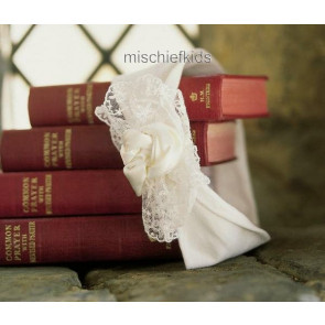 Little Darlings HB260 Ivory Headband with Satin and Lace Trim