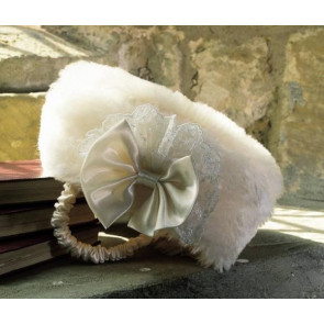 Little Darlings RH262 Ivory Faux Fur Pill Box Hat