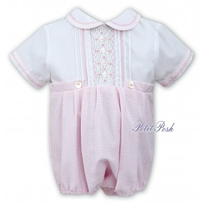 Sarah Louise 011515 baby girls pink gingham bubble romper