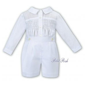 Sarah Louise C4000 Boys Hand-Smocked Buster Romper Suit All white ex  011612