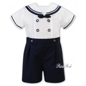 Sarah Louise 011875 White/Navy Sailor Shirt & Shorts Buster Suit