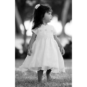 Girls white Petal Hem Dress
