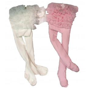 Couche Tot CT02 Baby Ruffle Tutu Tights IVORY PINK or WHITE