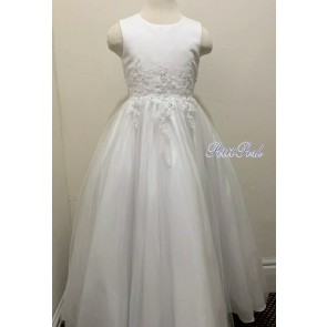 Sweet D 8096 Wanda Embroidered Waist Tulle Communion Dress. Full Length (Ankle)