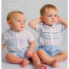 Sarah Louise 011125 Boys Blue Smocked Buster Suit