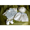 Angels and Fishes GABRIEL Silk Shirt, Bow Tie, Waistcoat & Trouser Boys Christening Set IVORY or BLUE