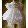 Angels and Fishes CHLOE Silk and Lace Christening Bloomer Dress Set